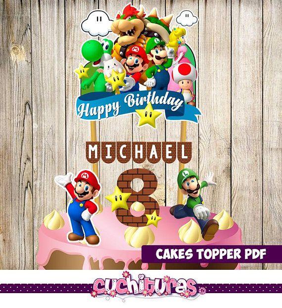 Mario Bros Cake Topper Mario Bros Birthday Mario Bros Party