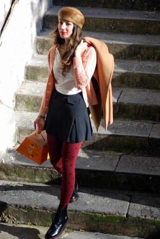 polka dots, panettone, pink handmade sweather, paco rabanne skirt, red lips