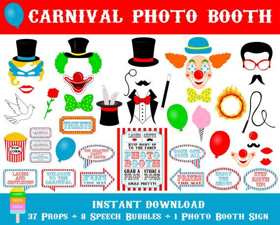 Carnival Photo Booth Props –46 Pieces (37 props, 8 speech bubbles, 1 photo booth sign)-Printable Circus Photo Booth Props-Instant Download