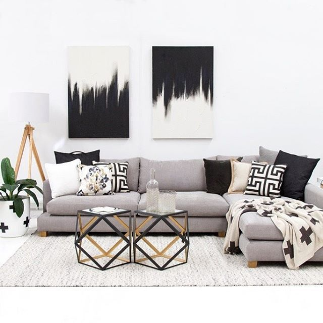 The 'set the scene' of the month! … doesn't this look unreal! Big thumbs up to the girls in the showroom working their magic // @designtwins pot $190, standing lamp $329.95, Brighton modular sofa from $3280, paintings $159.95 each, cushions from $39.95, geometric side table $249.95, @aurahome cross throw rug $179.95 and stunning NEW @baylissrugs brazil floor rug (in smooth grey - 2m x 3m) $759. Contact us on 07 5523 9825 or info@tailoredspace.com.au to make a purchase, we deliver Australia…