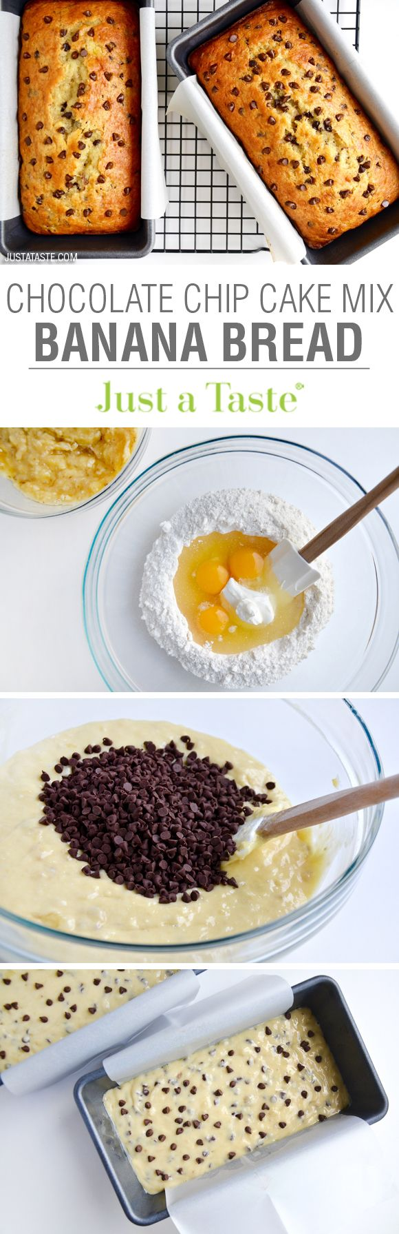 Chocolate Chip Cake Mix Banana Bread | recipe via justataste.com