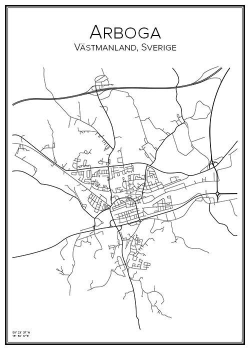 Arboga. Västmanland. Sverige. Karta. City print. Print. Affisch. Tavla. Tryck.