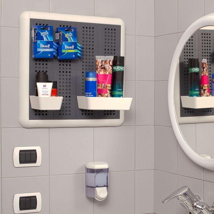 Kit Paretella Elegange 60 grigia  Porta oggetti versatile ed elegante, può essere utilizzato anche in bagni e spogliatoi