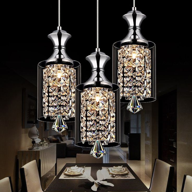 Modern Pendant Chandelier Led Crystal Lamp Three Head Disc Tray And