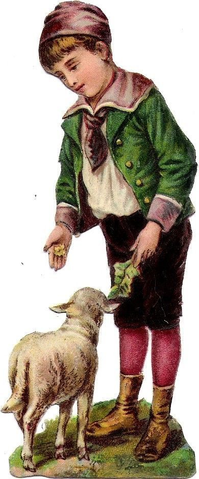 Oblaten Glanzbild scrap die cut chromo Kind child mouton Schaf sheep Lamm lamb