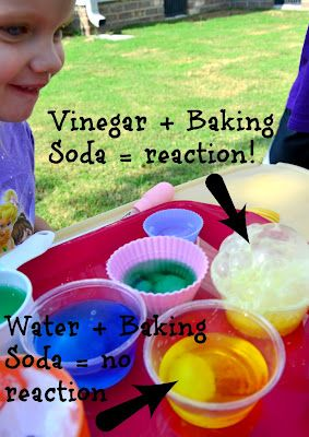 A Fizzing Good Tea Party: Color Chemistry Experiments Disguised as Play. water or vinegar in each cup, tinted. add a small spoon of baking soda. Experiment!