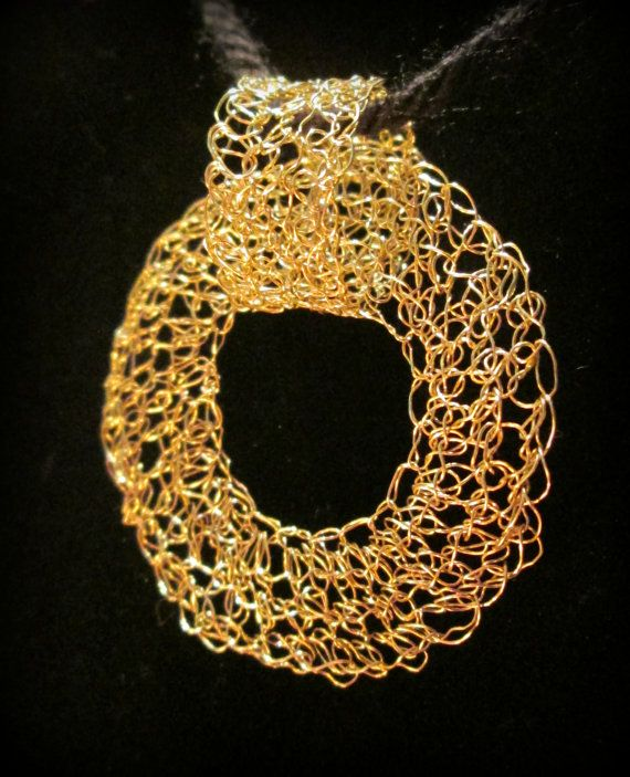 Lovely versatile pendant! Gold or silver wire crochet intertwined circle pendant by DreShay