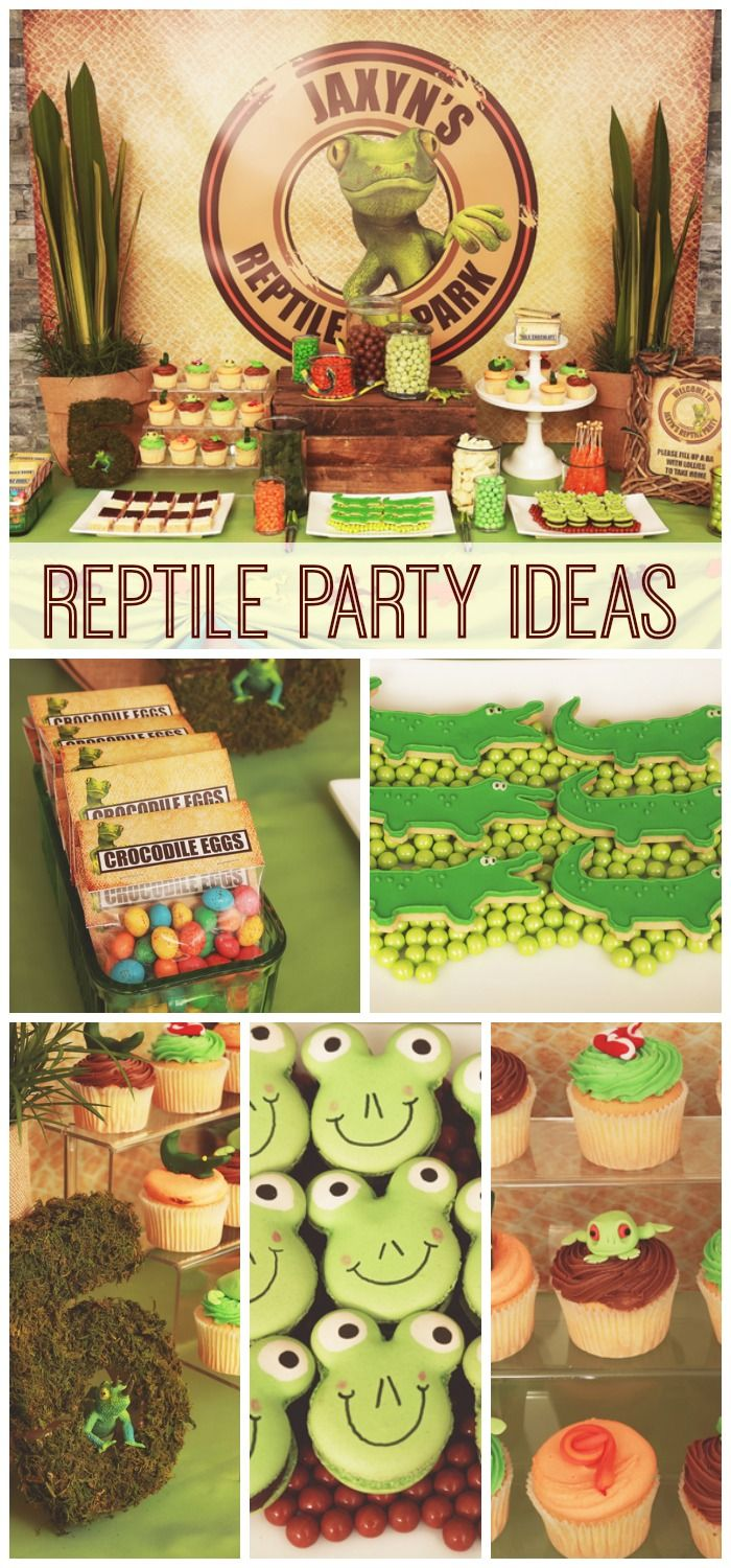 What fun desserts at this reptile boy birthday party! See more party ideas at CatchMyParty.com.