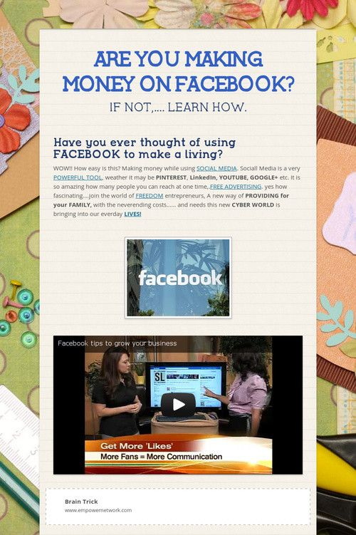 ARE YOU MAKING MONEY ON FACEBOOK?