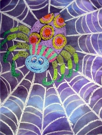 I like this version of the crayon resist.--First draw the spider and then the web with crayons. Be sure to heavily color the head, body and legs. To finish, paint the entire picture with water colors. The paint will not stick the colored crayon areas on the picture.