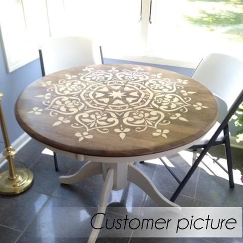 Stenciling on wood table - furniture stenciling