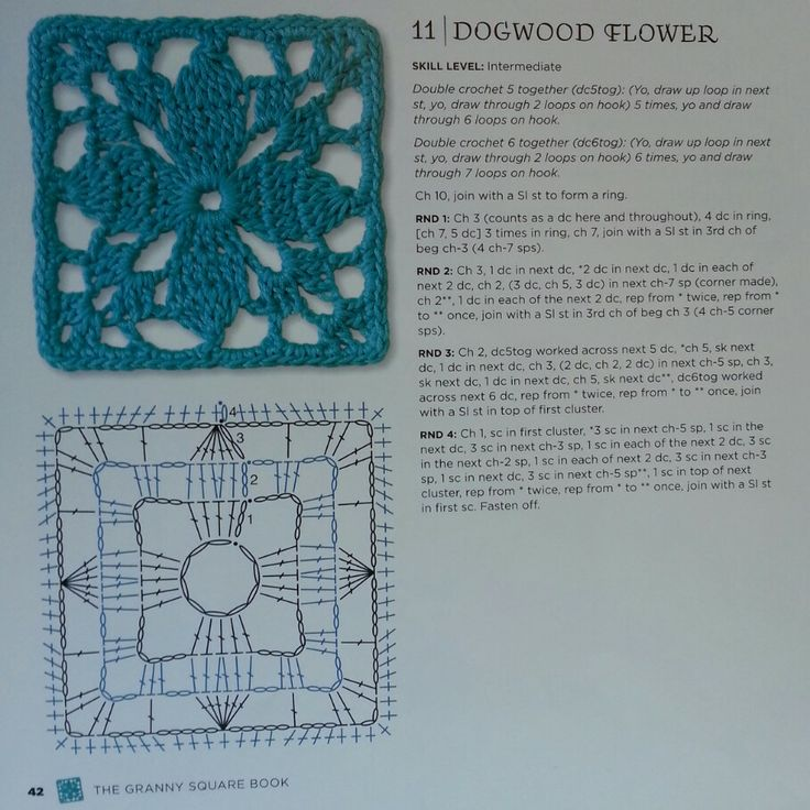 Dogwood Flower - from The Granny Square Book by Margaret Hubert #crochetmoodblanket2014 granny square crochet pattern