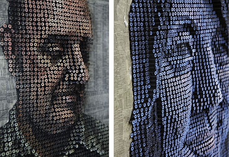 3D portraits made from screws :: Andrew Myers
