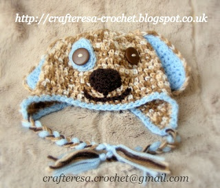 Crafteresa Crochet puppy dog baby hat 0-3 months available in other colours and sizes