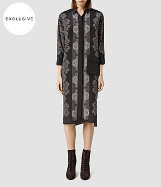 Women's Lupine Latice Dress (Bitter Chocolate) - product_image_alt_text_1