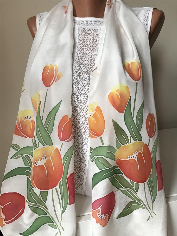 """Шёлковый шарф """"Тюльпаны"""" с ручной росписью"""