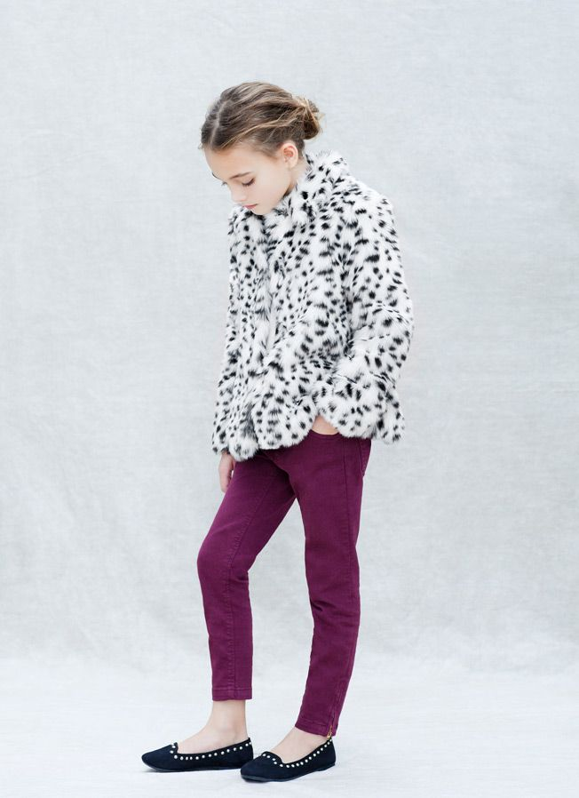 Zara Dalmation coat, color ankle zip pants, studded flats