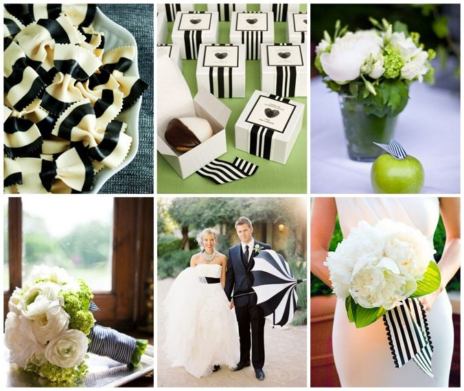 Black and White Stripes and Apple Green