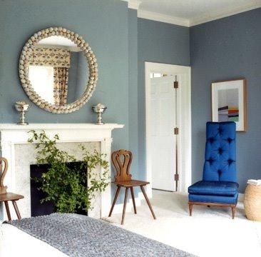 living rooms - Blue, tufted, , white, fireplace, round, mirror, white, carpet, wood, accent, chairs,  Blue Living Room