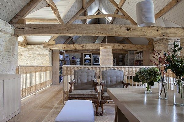 Pale oak beams and exposed stones
