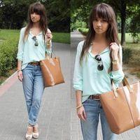Mel moda 2014 longa das senhoras da luva das mulheres blusa mint Hem Oriente rua verde bolso da camisa quadradão encabeça CS4400