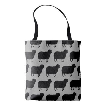 Black Sheep Silhouettes Pattern Tote Bag - patterns pattern special unique design gift idea diy