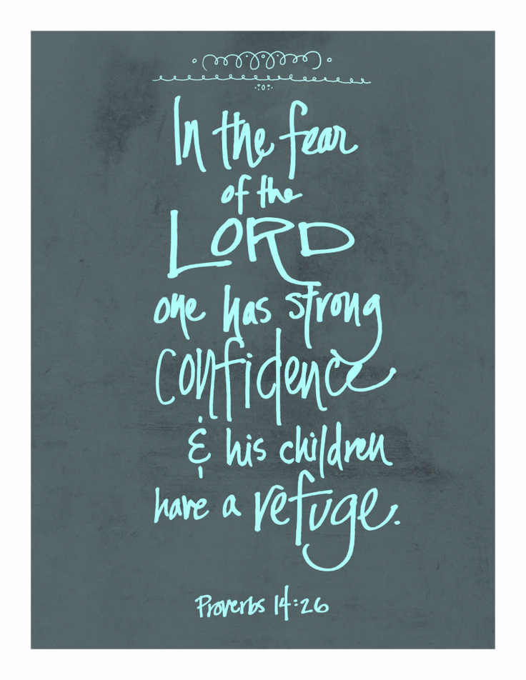 "Proverbs 14:26 ""Those who fear the Lord are secure;  He will be a place of refuge for their children.  NLT"