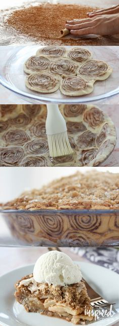 Cinnamon Roll Apple Pie - a unique spin on classic apple pie // #pie #baking #cinnamonroll #dessert