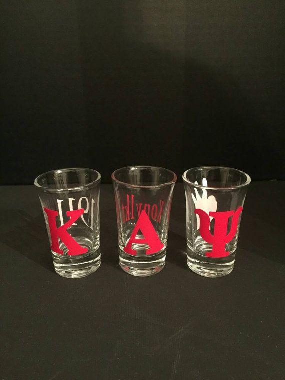 Kappa Alpha Psi Shot Glasses set of 3 Kappa by BipolarSnobCreates