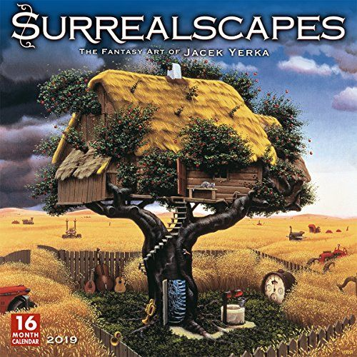 "2019 Surrealscapes The Fantasy Art of Jacek Yerka 16-Month Wall Calendar: by Sellers Publishing, 12""""x12"""" (CA-0410) - Blending his imagination with traditional Flemish techniques, Polish born artist Jacek Yerka has created a style completely his own. His mind-bending, dreamlike landscapes seem both realistic and surreal. Featured are 13 of his most popular paintings to captivate and enchant you throughout the year."