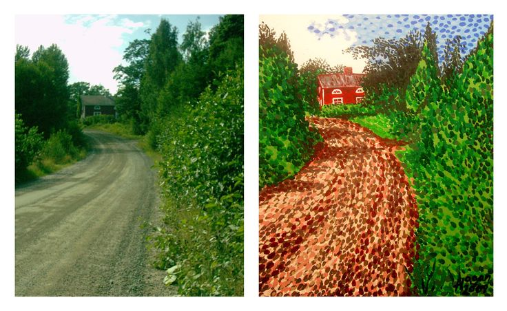 'The Red House in Finland'.- Photo and Painting. #art #artist #canvas #photograph #painting #konst #taide #kunst #bild #kuva #nagohnala #hoganfinland #redhouse #finland #red #house #hill #road #impressionism #photoandpainting #foto