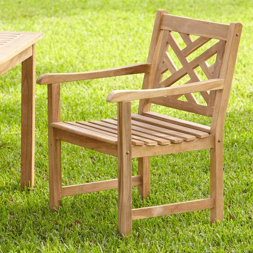 Summerton Teak Lattice-Back Arm Chair #birchlane