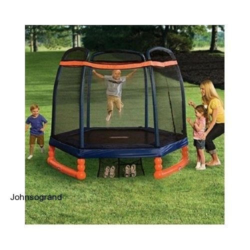 Little Tikes Trampoline W/ 7' Enclosure Children Netted Outdoors Yard Safety NEW #LittleTikes