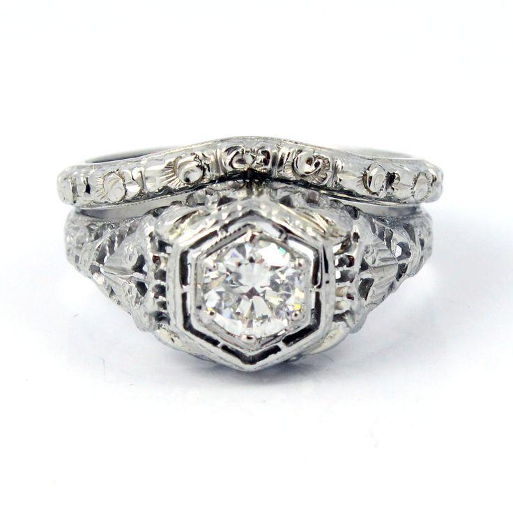 18k art deco 1920s filigree european cut antique diamond engagement ring band wedding set - Antique Wedding Ring Sets