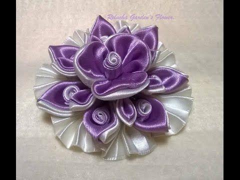 Kanzashi #120 - Como fazer Flor de Tecido Cetim - LINDA ! DIY. PAP - Flo...