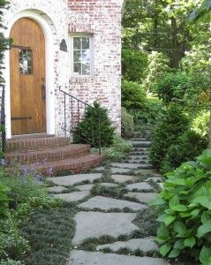 Entry courtyardGardens Ideas, Flagstone Paths, Back Doors, Doors Design, Gardens Paths, Front Doors, Susan Cohan, New York, Front Entry