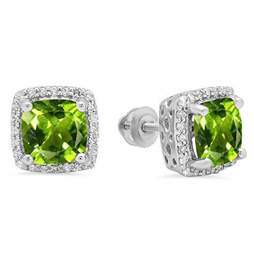 10K White Gold Cushion Cut Peridot  Round Cut White Diamond Ladies Square Frame Halo Stud Earrings -- See this great product.(This is an Amazon affiliate link)