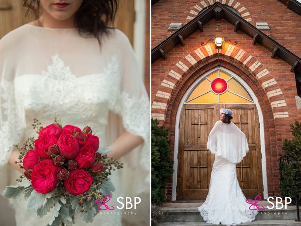 holiday photoshoot (42), red rose bouquet, Sarah Houston gown, wedding, christmas wedding, Ooh La La Designs, photo cred Shutterbrugs