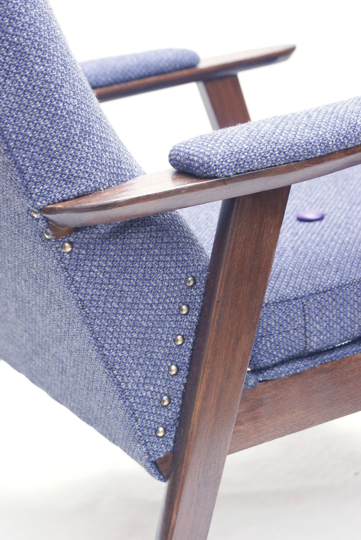 Stylish vintage armchair reupholstered in purple by FunMakesGood, £350.00
