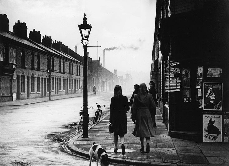 The Pretty Girls of Leicester (1948) Bert Hardy (This picture shows the corner of Gedding Rd (where I was born)  St Saviour's - the dog looks like Pete -our dog - who died in 1959 - the woman on the right looks uncannily like my mother...although it probably isn't...but it encapsulates the feel of my childhood)