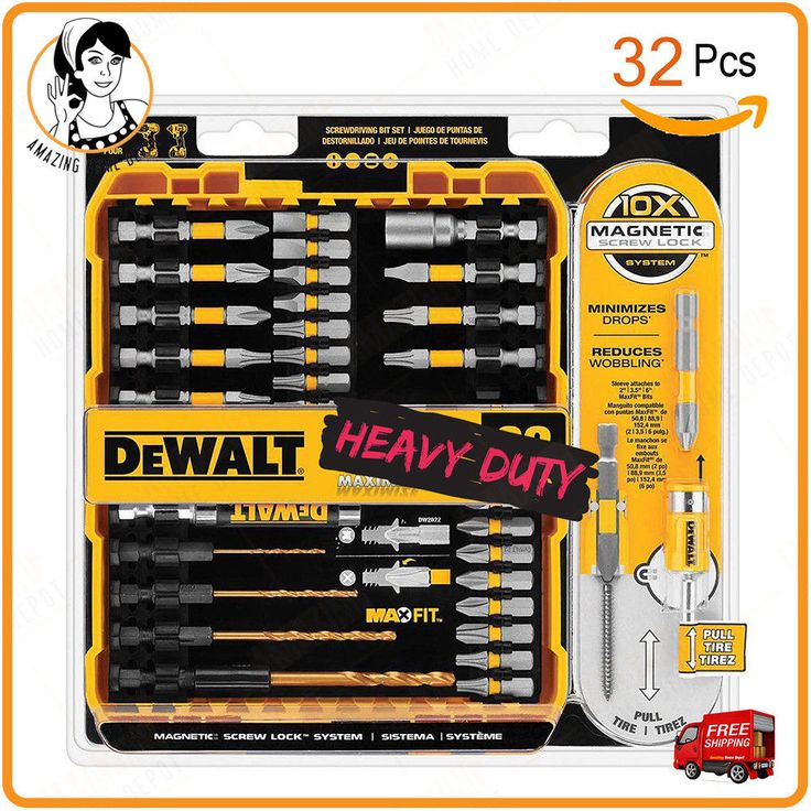 Want A Drill & Driver Bit Set that worth every penny? The DEWALT MAXFIT Screwdriving Set features the 10X Magnetic Screw Lock System for fastener retention, minimized drops and reduced wobbling is for you. Use in impact drivers and drill/drivers. A precision-machined tip for an ideal fit in screwhead recesses for less stripped screws. Made out of S2 modified steel for maximum durability. #Dewalt #drill_driver_bit_set