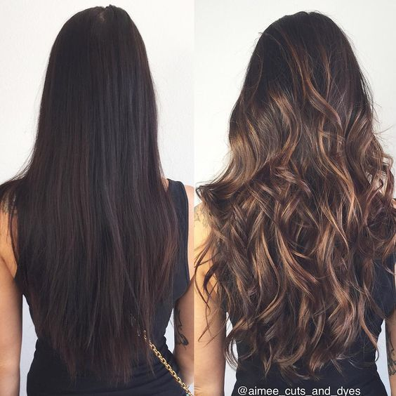 caramel balayage on dark hair