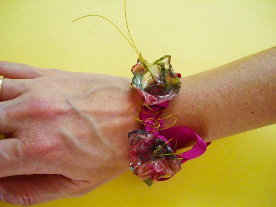 bracelet ribbon with upcycled decoupage flowers by art2artshop
