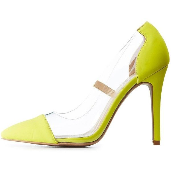 Bamboo PVC Pointed Toe Pumps ($25) ❤ liked on Polyvore featuring shoes, pumps, neon yellow, pointy-toe pumps, clear shoes, pvc shoes, neon yellow shoes and clear pumps