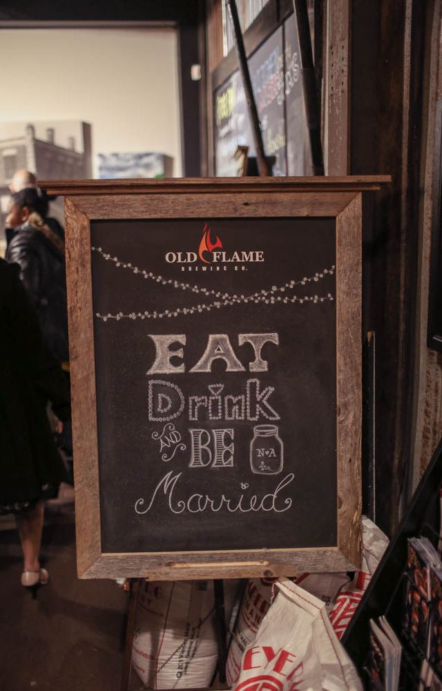 """Chalkboard sign """"Eat, Drink and be Married"""" - photo by New Vintage Media"""