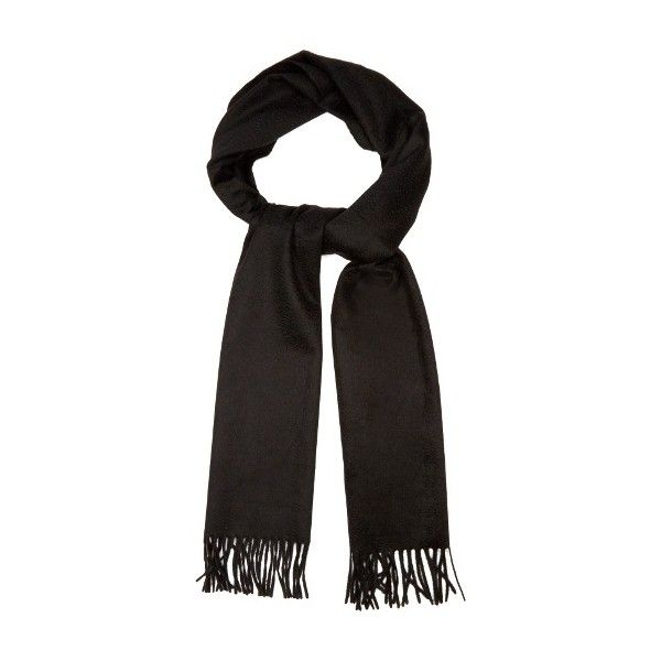 Alexander McQueen Logo-embroidered cashmere scarf (485 CAD) ❤ liked on Polyvore featuring men's fashion, men's accessories, men's scarves, black and mens cashmere scarves