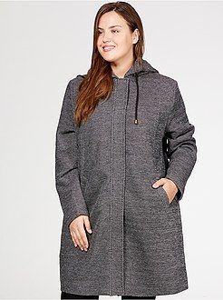 Grande taille femme Manteau long à capuche façon lainage chiné  - Kiabi