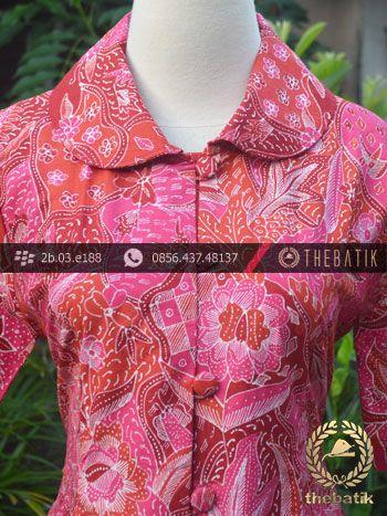 Model Baju Batik Kerja Wanita – Merah Tulis   Indonesian Unique Batik Tops Clothing for Women - Men http://thebatik.co.id/baju-batik/