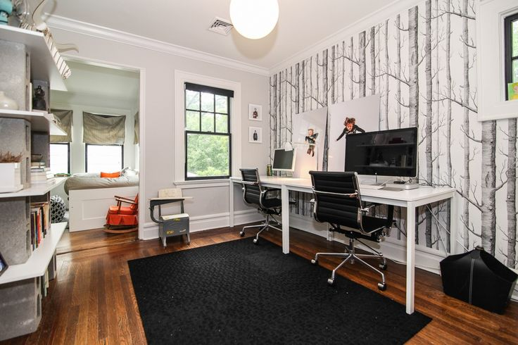 """Contemporary Home Office with Hardwood floors, interior wallpaper, 100 Parson Collection Parsons Desk 63"""" in White, Carpet"""