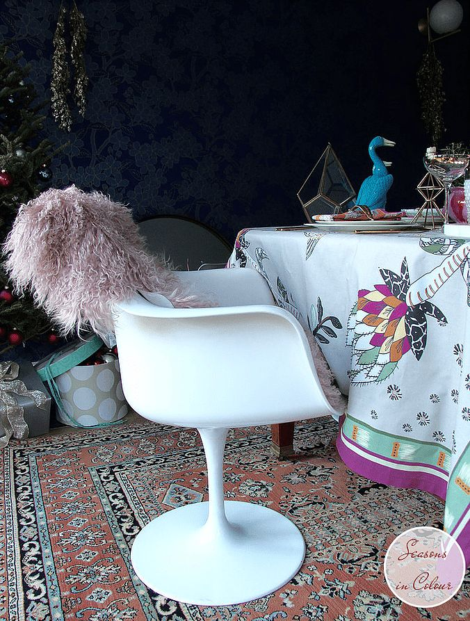 #UKHomeBlogHop for Christmas 2016! 30+ Interiors Bloggers open their home in one massive Blog Tour that will inspire you this season. Seasons in Colour table setting with Halsted Design pink tablecloth and napkins, gold cutlery, Christmas table, pink candles, Ester & Erik, brass vase, Anthropologie, Nisi Living, Tulip chair pink oriental rug